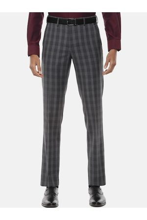 Van Heusen Men Grey Slim Fit Checked Formal Trousers