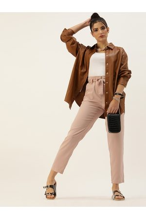 Style Quotient Women Nude-Coloured Relaxed Regular Fit Solid Trousers