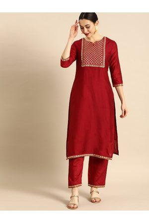 Anouk Women Red Embroidered Kurta with Palazzos