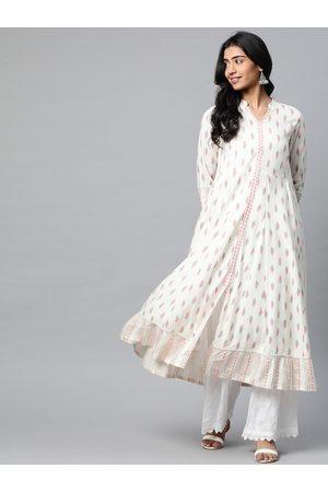 Yash Gallery Women Off White & Pink Geometric Printed Anarkali Kurta