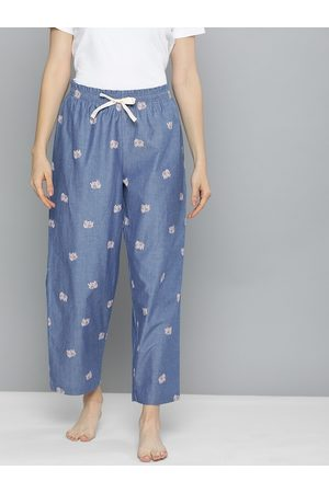 Chemistry Women Blue & Pink Striped Cropped Lounge Pants