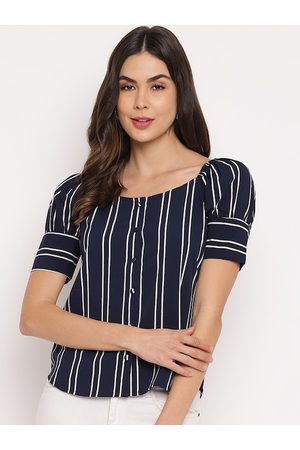 Mayra Women Blue & Off White Striped Puff Sleeves Crepe Shirt Style Top