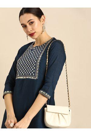 Anouk Women Palazzos - Women Navy Blue Gotta Patti Embroidered Kurta with Palazzos
