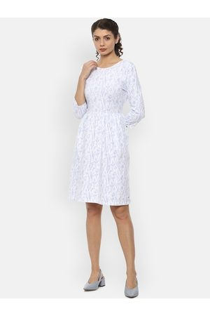 Van Heusen Women White Floral Printed Fit and Flare Dress