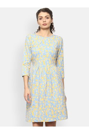 Van Heusen Women Blue & Yellow Floral Printed Fit and Flare Dress
