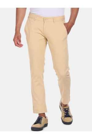 Ruggers Men Beige Regular Fit Solid Chinos