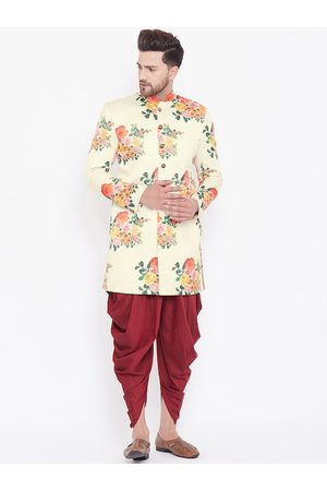 Vastramay Men Cream-Colored & Maroon Floral Printed Slim-Fit Sherwani