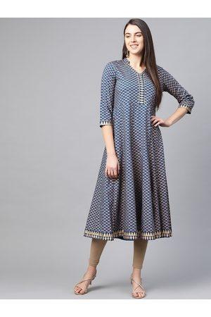 Yash Gallery Women Teal Blue & Golden Cotton Checked Anarkali Kurta