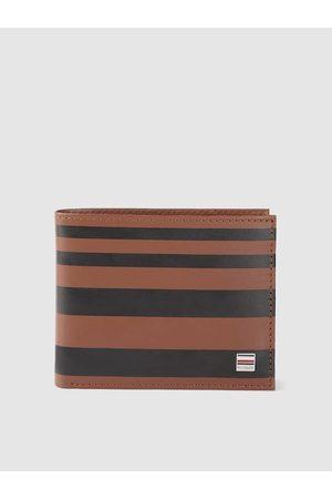 Tommy Hilfiger Men Brown & Black Striped Leather Two Fold Wallet