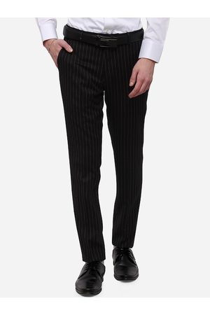 JADE BLUE Men Black Slim Fit Striped Formal Trousers