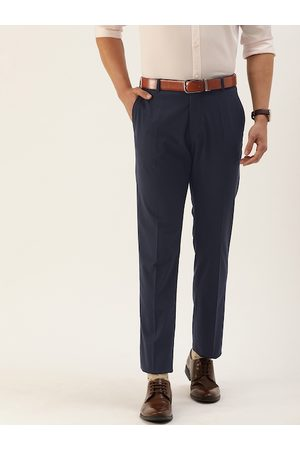 SELECTED Men Navy Blue Slim Fit Solid Formal Trousers