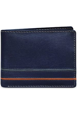 ABYS Men Blue Textured Two Fold Wallet