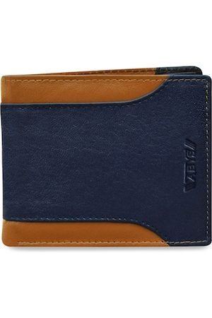 ABYS Men Blue & Tan Textured Two Fold Wallet