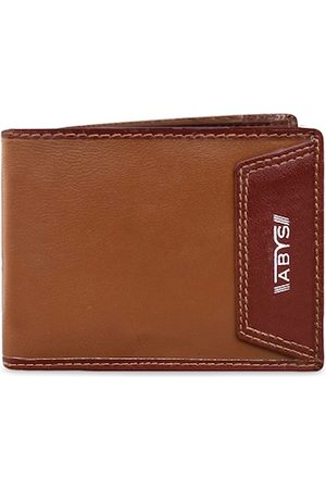 ABYS Men Tan Brown Solid Two Fold Wallet