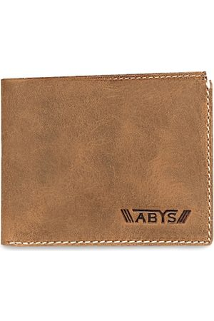 ABYS Men Tan & Blue Textured Two Fold Wallet