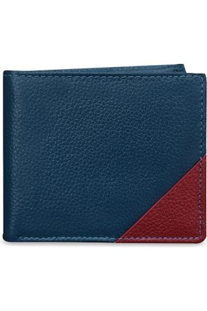 ABYS Men Blue & Maroon Textured Two Fold Wallet