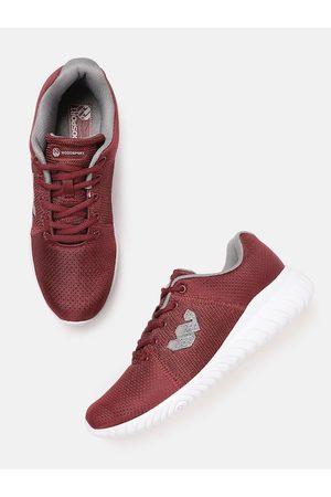 Woodland Men Maroon Woven Design Sports Shoes