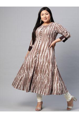 YASH GALLERY Women Plus Size Brown & Beige Anarkali Kurta