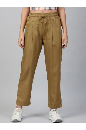 Marie Claire Women Khaki Regular Fit Solid Regular Trousers