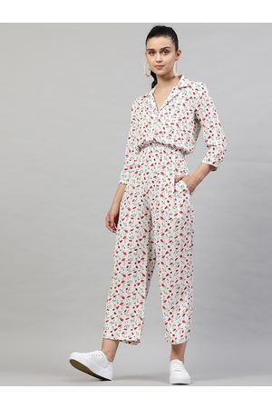 STREET 9 Women Jumpsuits - Women White & Red Printed Basic Jumpsuit