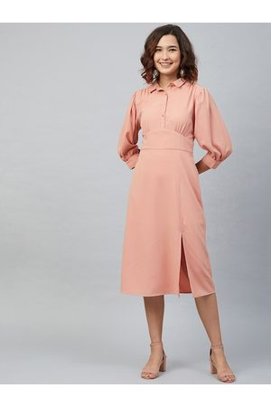 Marie Claire Women Peach-Coloured Solid Fit and Flare Dress