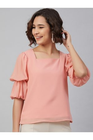 Marie Claire Women Peach-Coloured Puff Sleeves Georgette Regular Top