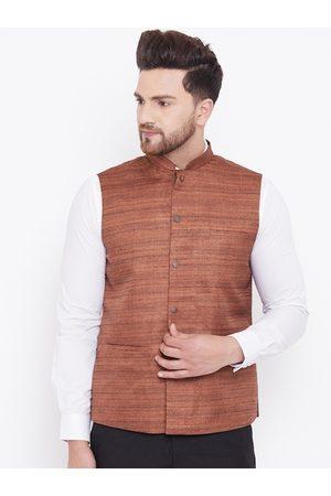 VASTRAMAY Men Coffee Brown Solid Woven Nehru Jacket