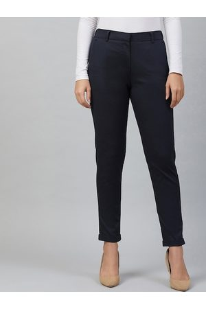 Marie Claire Women Navy Blue Regular Fit Solid Formal Trousers