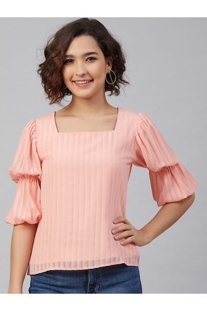Marie Claire Women Pink Striped Puff Sleeves Georgette A-Line Top