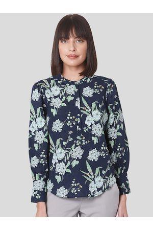 Vero Moda Blue Floral Printed Tie-up Neck Pure Cotton Regular Top