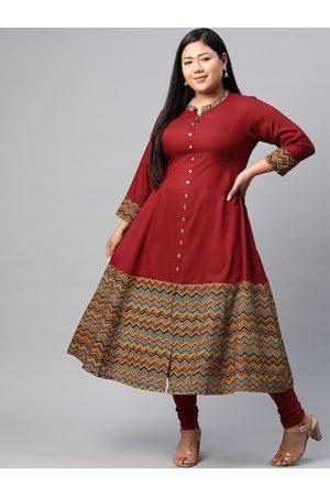 Yash Gallery Women Plus Size Maroon Printed Hem A-Line Kurta