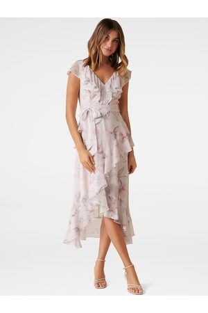 Forever New Women Off-White & Pink Printed Ruffle Wrap Dress