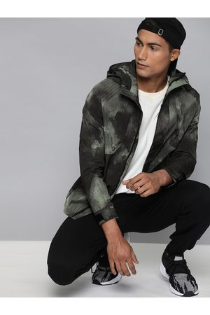 HRX Men Green Printed Rapid-Dry Antimicrobial Outdoor Sporty Jacket