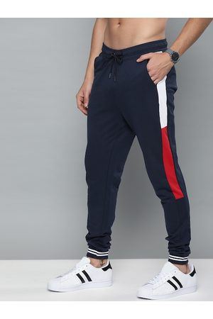 HARVARD Men Navy Blue Solid Straight Fit Joggers With Side Stripes