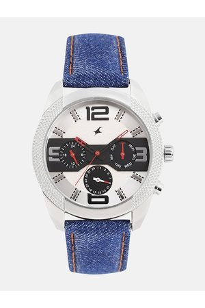 Fastrack Men White & Black The Denim Collection Analogue Watch 3187SL01