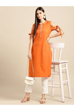 Anouk Orange Solid Pure Cotton Cold-Shoulder Sleeves Thread Work Kurta with Tie-up detail