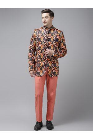 Hangup Men Charcoal Grey & Orange Floral Print Bandhgala Suit with Pocket Square