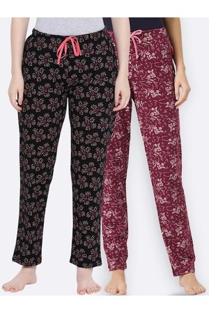 Kanvin Women Maroon & Black Pack Of 2 Printed Cotton Lounge Pants