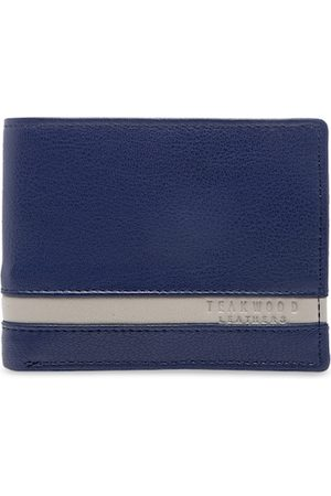 Teakwood Leathers Men Blue Solid Two Fold Wallet