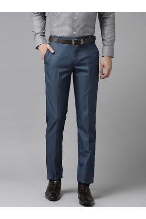 Hangup Men Navy Blue Regular Fit Solid Formal Trousers