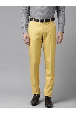 Hangup Men Yellow Regular Fit Solid Formal Trousers