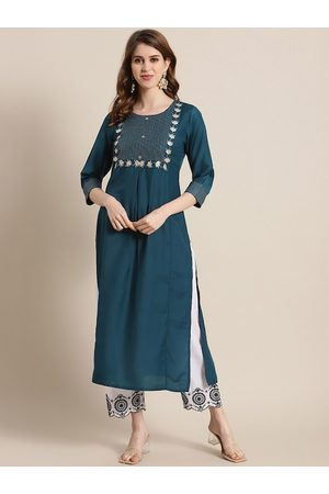 Varanga Women Teal Ethnic Motifs Yoke Design Thread Work Kurta