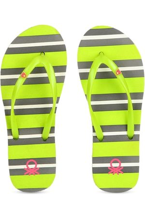 Benetton Women Lime Green & Grey Striped Thong Flip-Flops