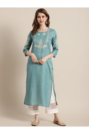 Varanga Women Sea Green Floral Embroidered Thread Work Kurta