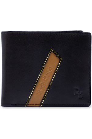 RICH BORN Men Black & Brown Colourblocked Leather RFID Two Fold Wallet