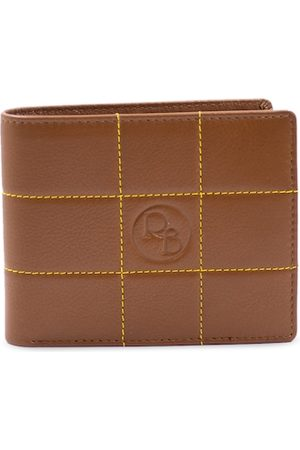 RICH BORN Men Tan Checked Leather RFID Two Fold Wallet