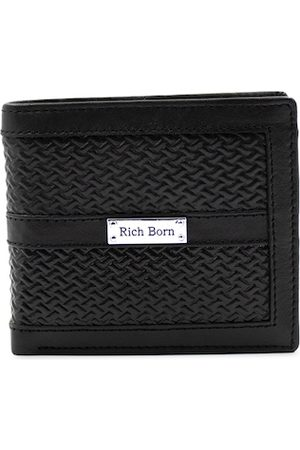 RICH BORN Men Black Textured Leather Two Fold Wallet