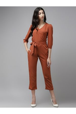 Cayman Women Rust Brown Solid Cropped Basic Jumpsuit With Belt