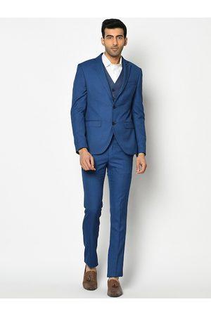 Blackberrys Men Blue Self-Design Slim-Fit Single-Breasted Formal Suit