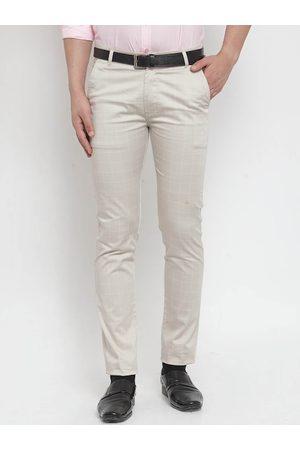 Hancock Men Beige Slim Fit Solid Formal Trousers